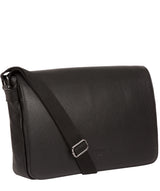 'Marv' Black Leather Messenger Bag Pure Luxuries London