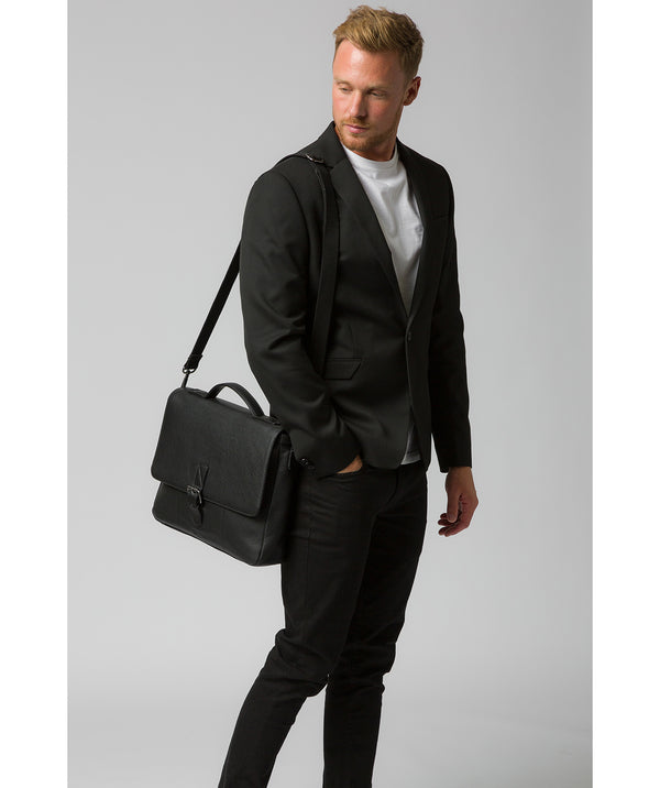 'Clarke' Black Leather Workbag Pure Luxuries London