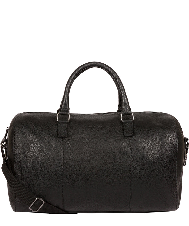 'Weekender' Black Leather Holdall image 1