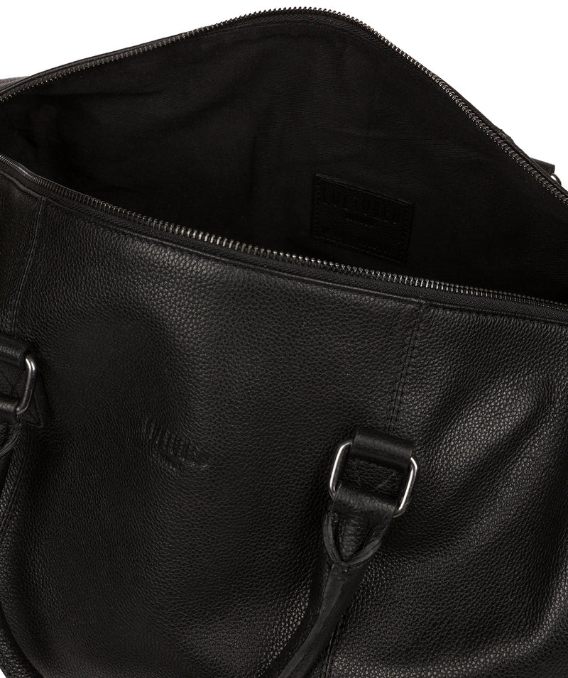 'Weekender' Black Leather Holdall image 4