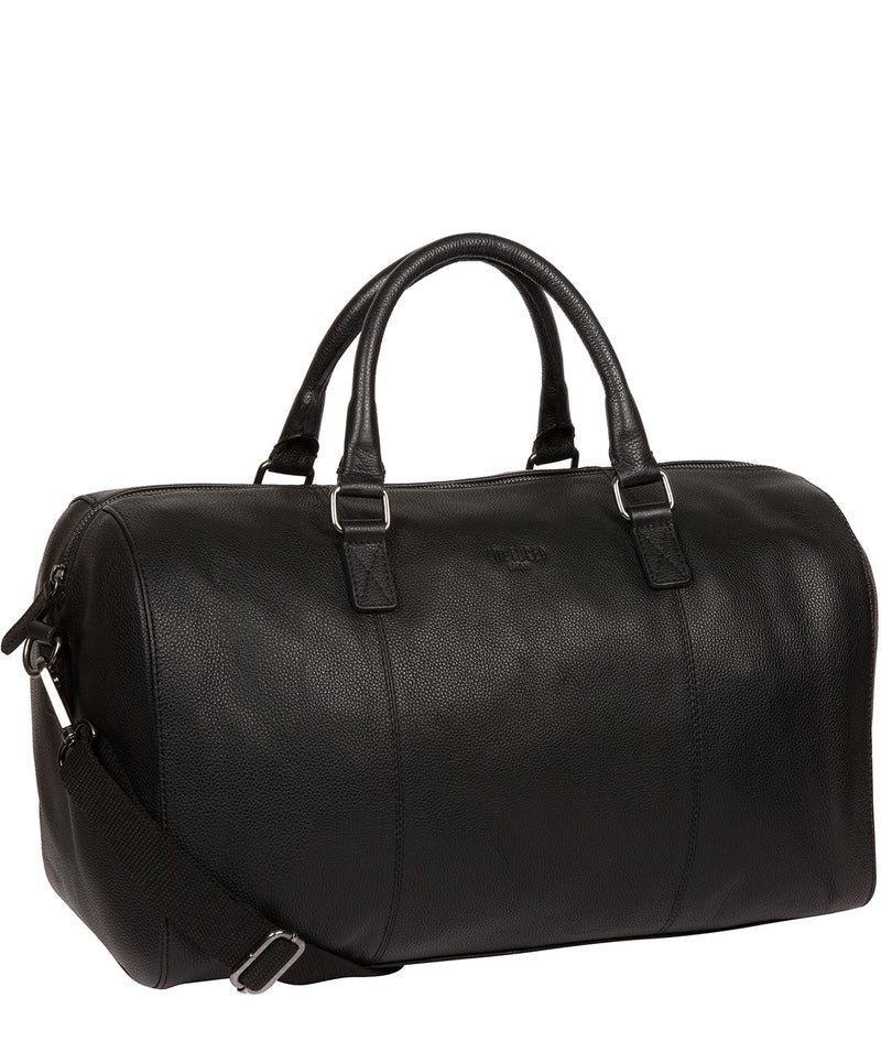 'Weekender' Black Leather Holdall image 5