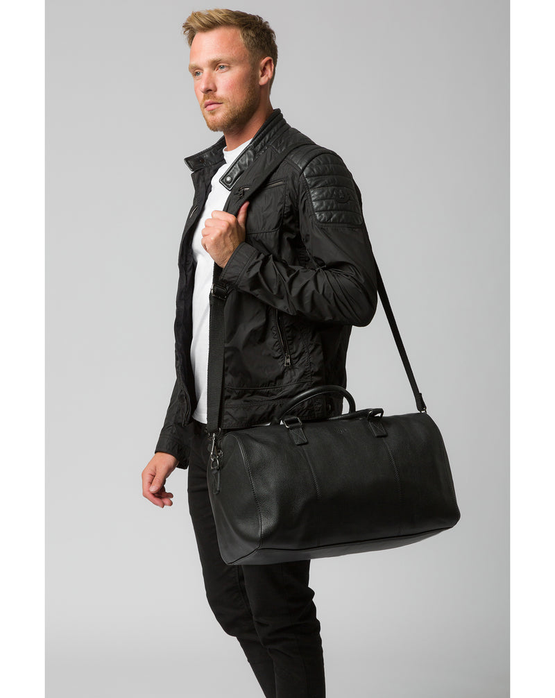 'Weekender' Black Leather Holdall image 7