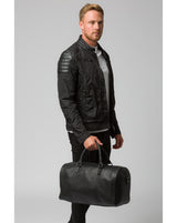 'Weekender' Black Leather Holdall Pure Luxuries London