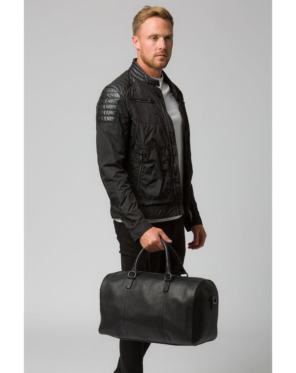 'Weekender' Black Leather Holdall
