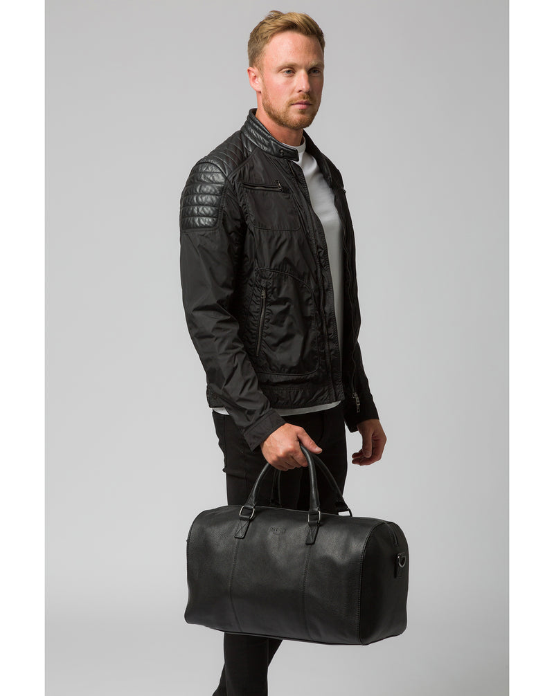'Weekender' Black Leather Holdall image 2