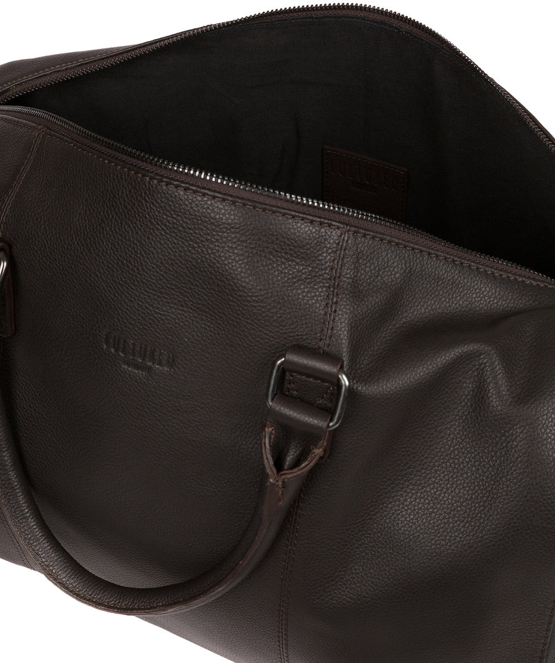 'Weekender' Dark Brown Leather Holdall image 4