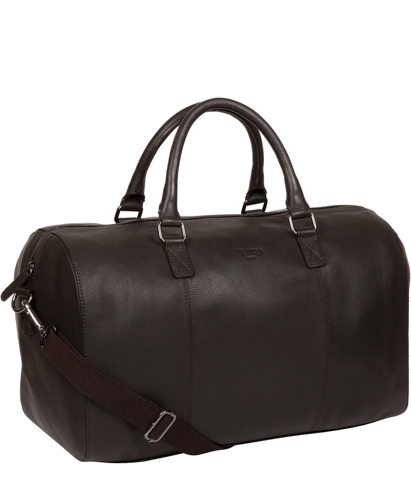 'Weekender' Dark Brown Leather Holdall image 5