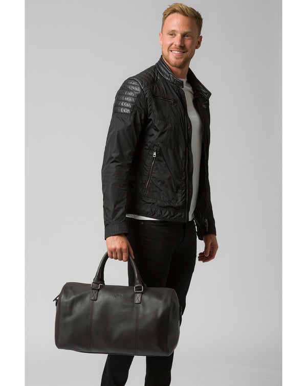 'Weekender' Dark Brown Leather Holdall Pure Luxuries London