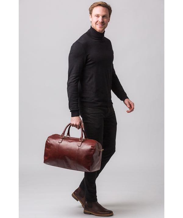 'Weekender' Dark Chestnut Leather Holdall