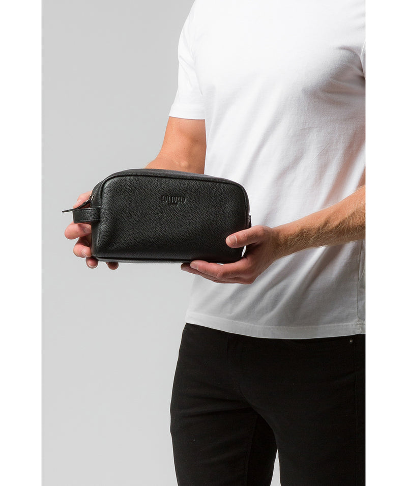 'Sail' Black Leather Washbag image 2