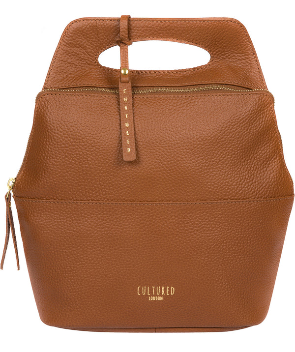 'Phoebe' Tan Leather Backpack Pure Luxuries London