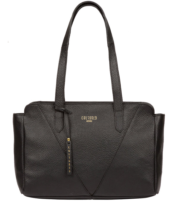 'Greta' Black Leather Shoulder Bag Pure Luxuries London