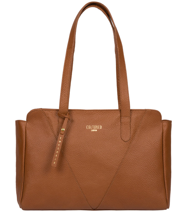 'Greta' Tan Leather Shoulder Bag image 1