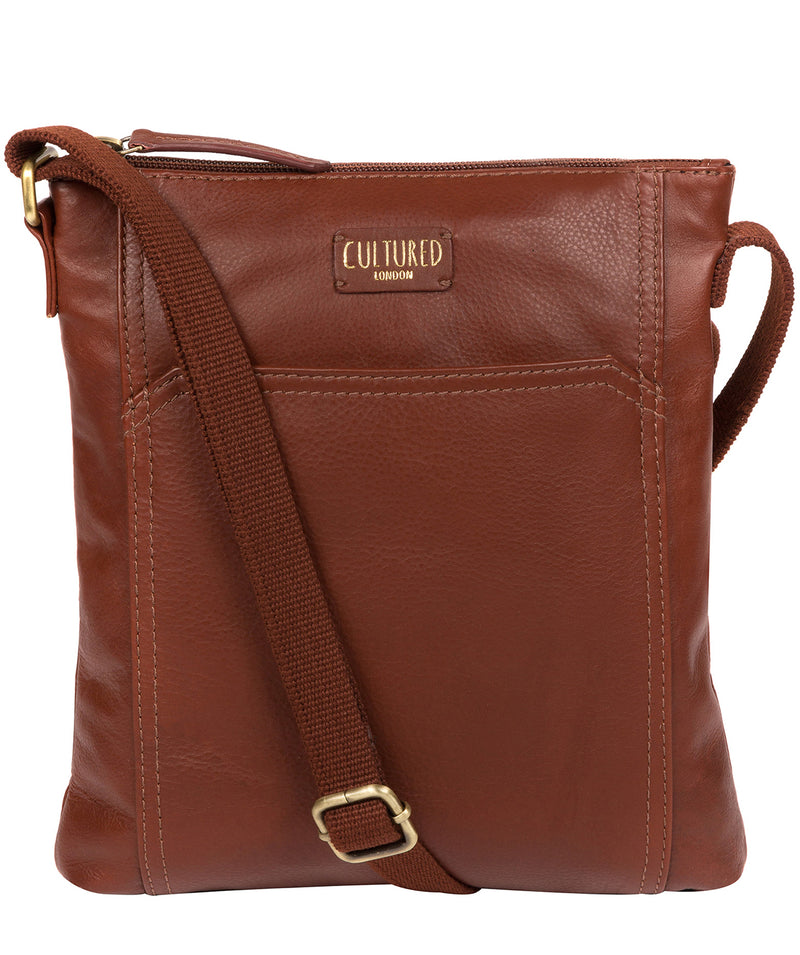 'Lucie' Cognac Leather Cross Body Bags  image 1