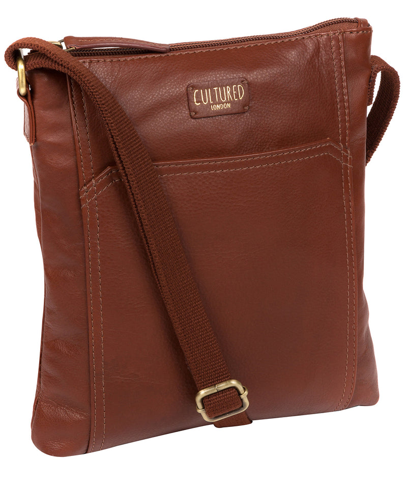 'Lucie' Cognac Leather Cross Body Bags  image 5