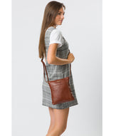 'Lucie' Cognac Leather Cross Body Bags  image 2