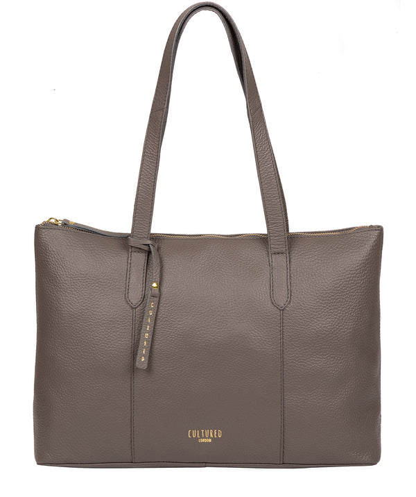 'Ombra' Silver Grey Leather Tote Bag Pure Luxuries London