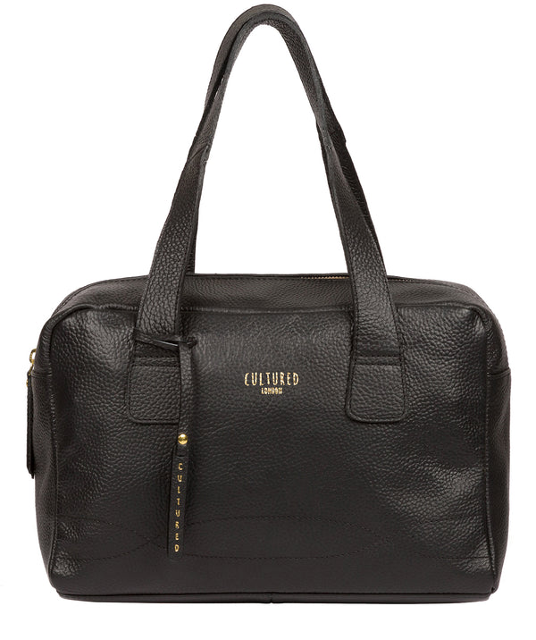 'Saldana' Black Leather Handbag Pure Luxuries London