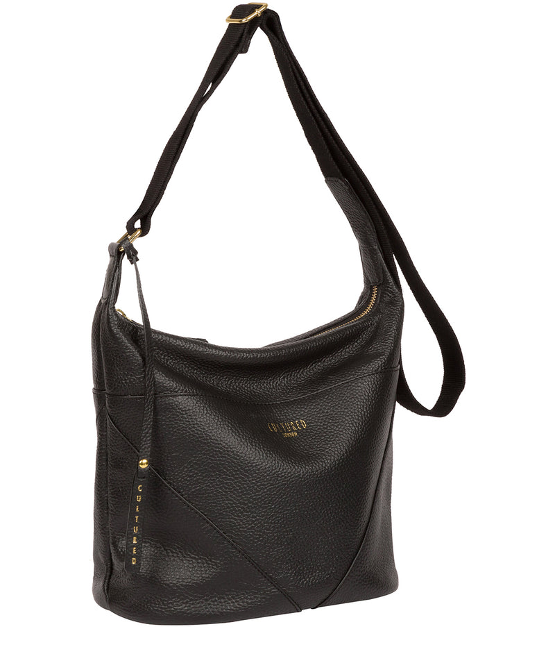 'Olsen' Black Leather Shoulder Bag image 5