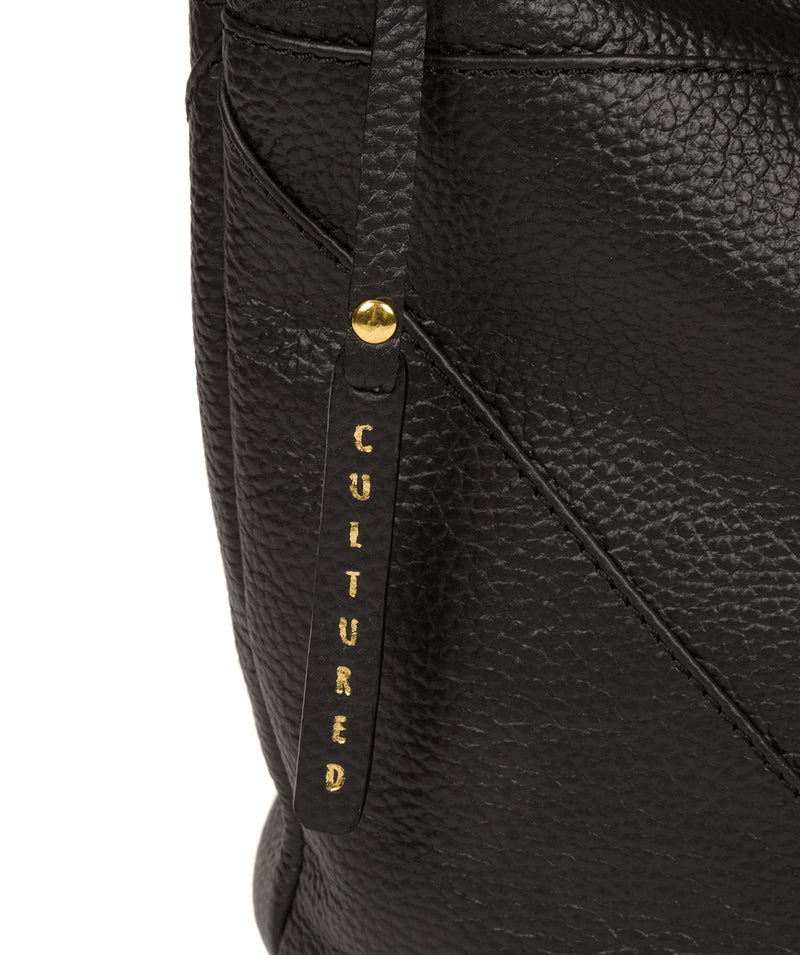 'Olsen' Black Leather Shoulder Bag image 6