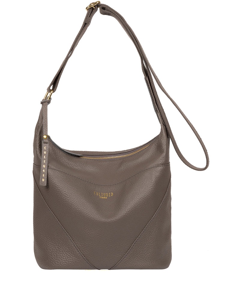 'Olsen' Silver Grey Leather Shoulder Bag image 1