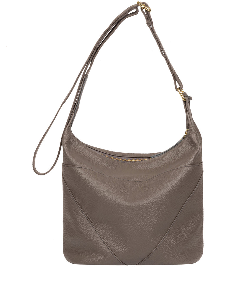 'Olsen' Silver Grey Leather Shoulder Bag image 3