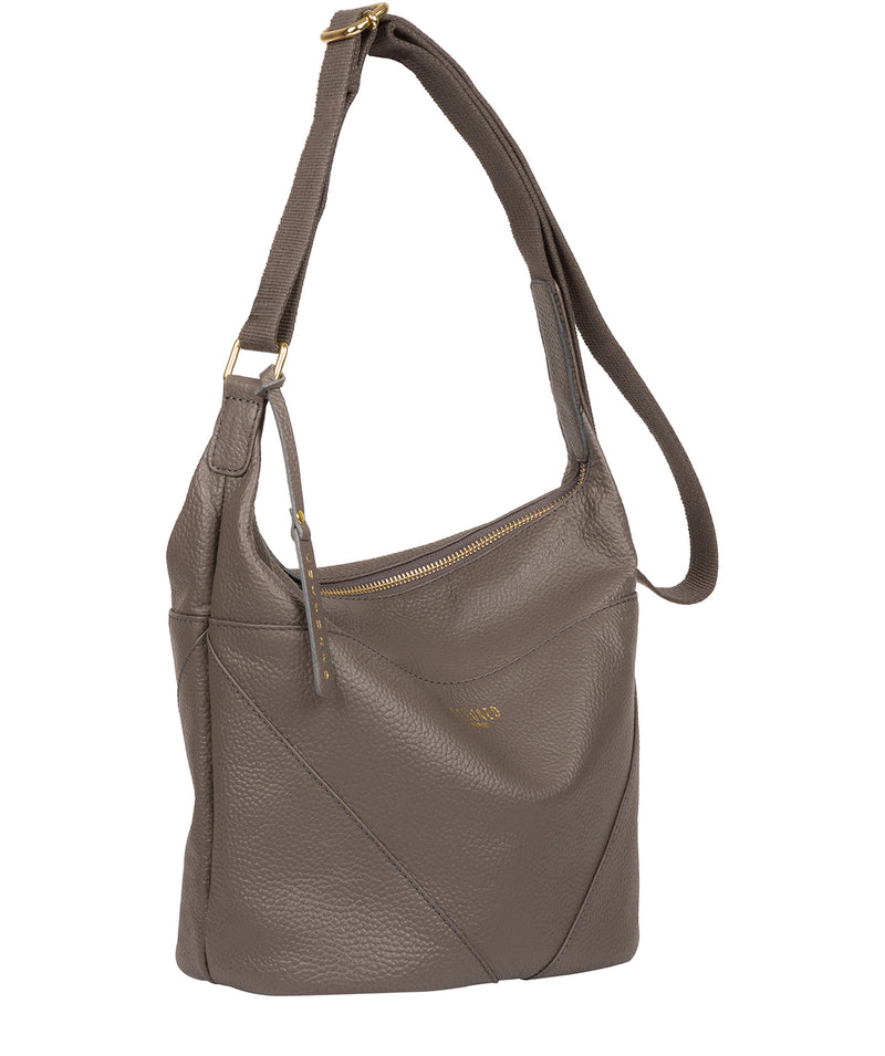 'Olsen' Silver Grey Leather Shoulder Bag image 5