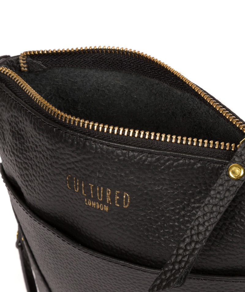 'Rebecca' Black Leather Cross Body Bag image 4