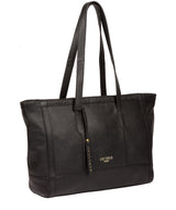 'Silvana' Black Leather Tote Bag image 5