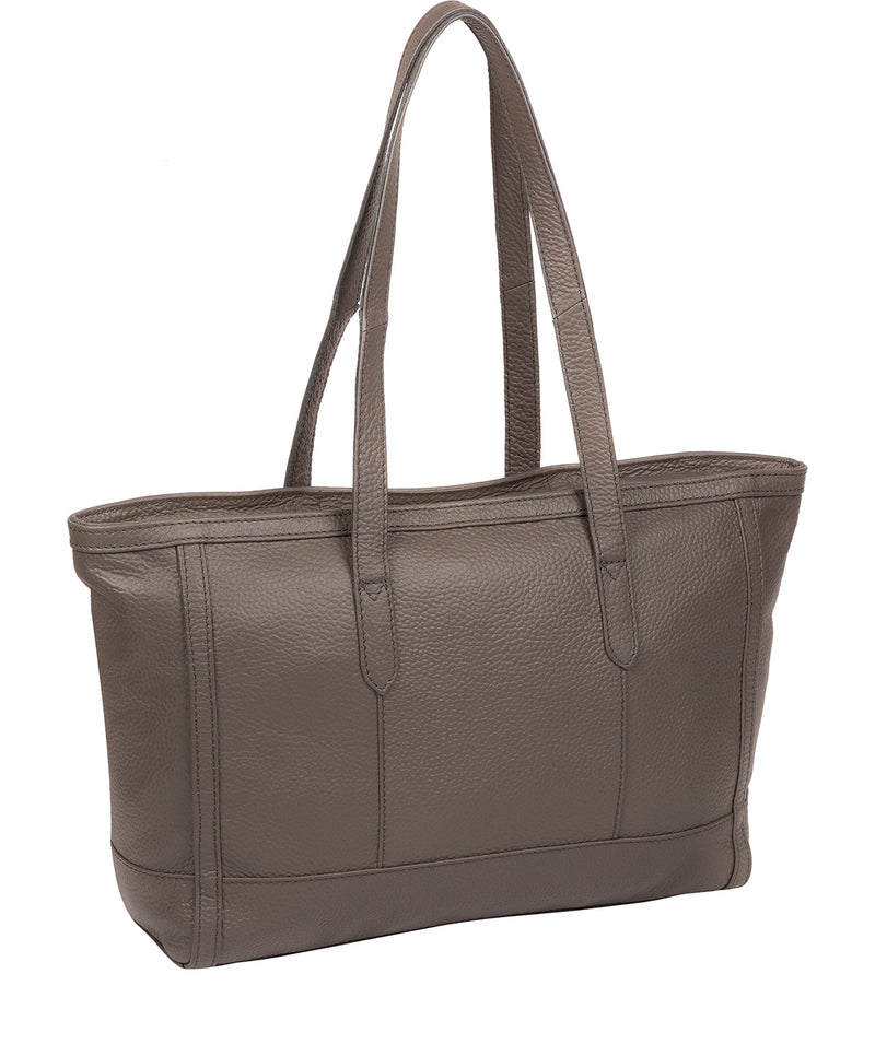 'Silvana' Silver Grey Leather Tote Bag