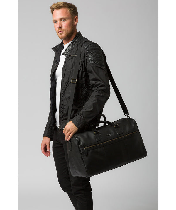 'Helm' Black Leather Holdall Pure Luxuries London
