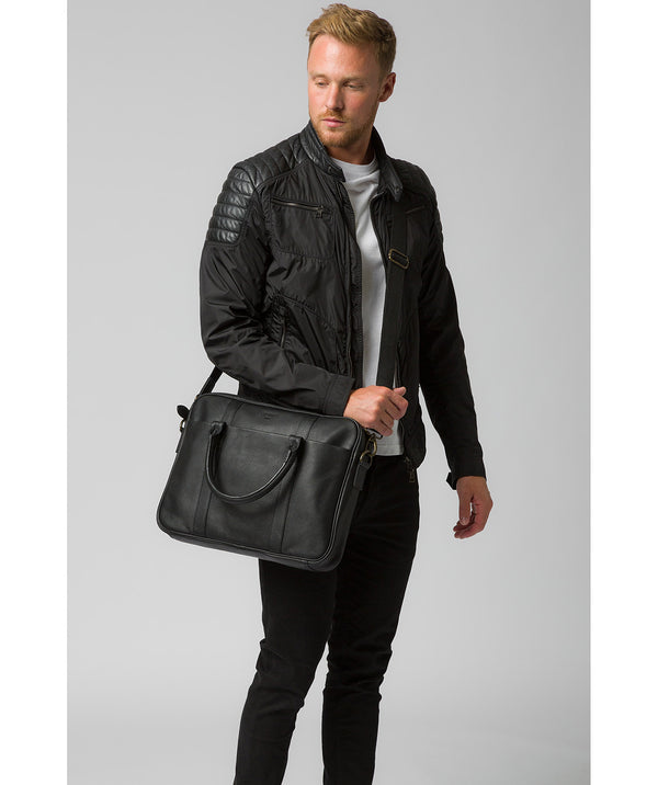 'Quay' Black Leather Work Bag Pure Luxuries London
