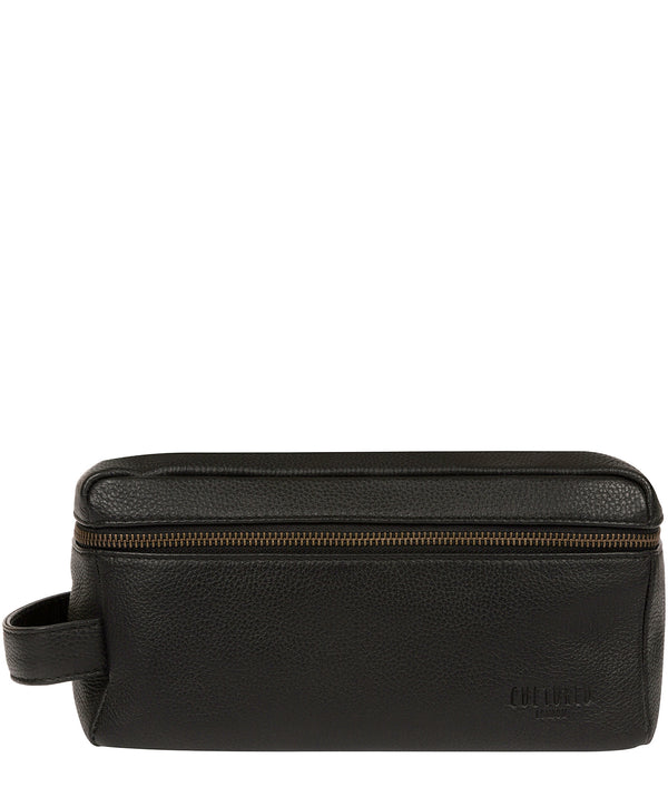 'Boom' Black Leather Washbag image 1