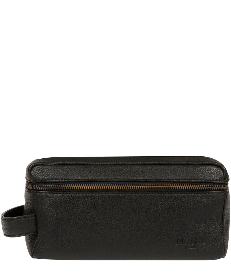 'Boom' Black Leather Washbag Pure Luxuries London