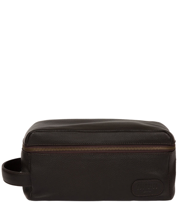 'Boom' Brown Leather Washbag image 1