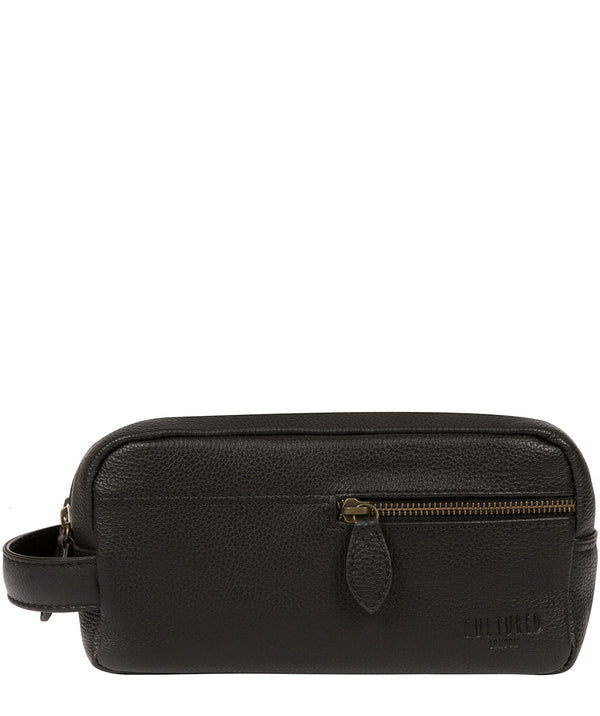 'Cove' Black Leather Washbag image 1