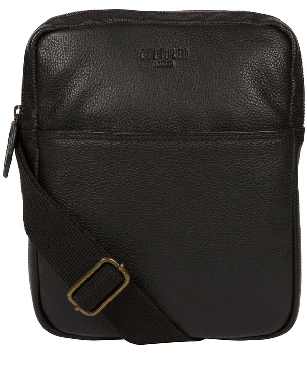 'Fargo' Black Leather Cross Body Bag Pure Luxuries London