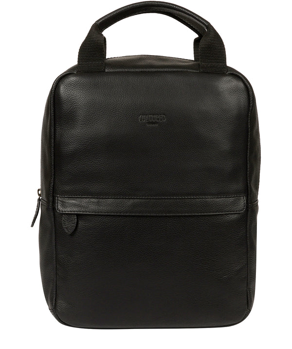 'Alps' Black Leather Backpack image 1