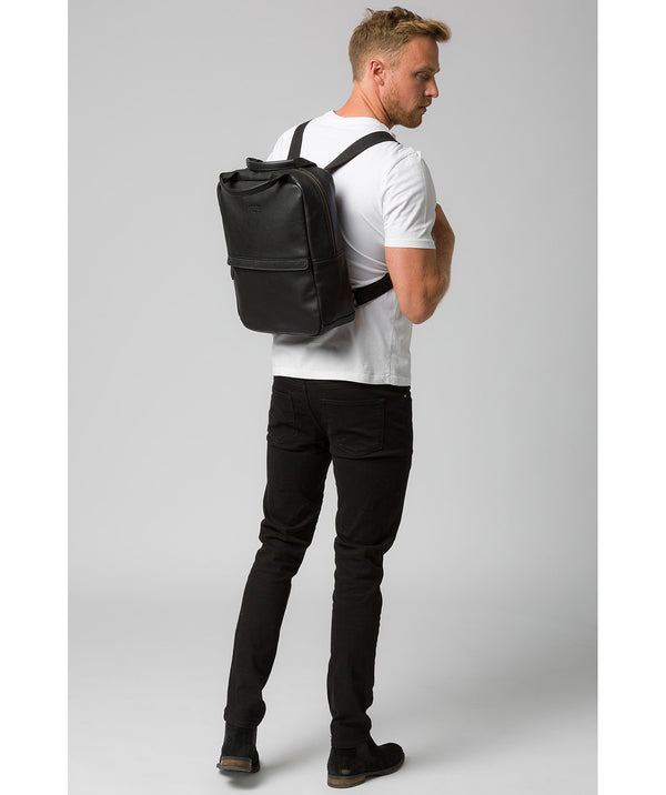 'Alps' Black Leather Backpack image 2