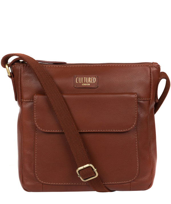 'Elna' Cognac Leather Cross Body Bag image 1