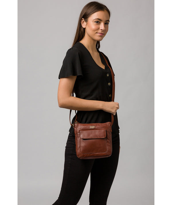 'Elna' Cognac Leather Cross Body Bag image 2