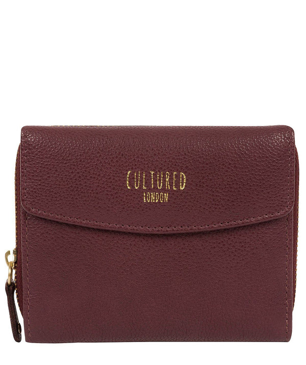 'Allergra' Raisin Leather Purse Pure Luxuries London