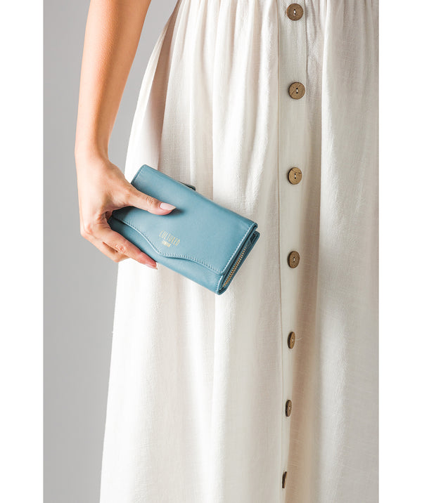 'Letitia' Smoky Blue Leather Purse