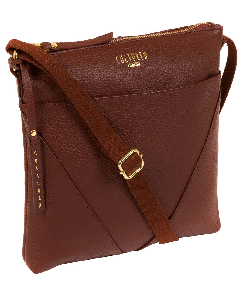 'Celia' Cognac Leather Cross Body Bag image 5