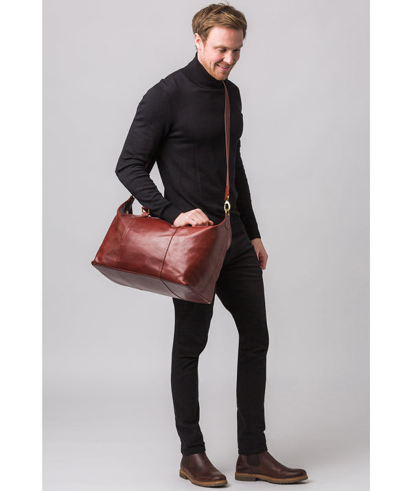 'Navigator' Dark Chestnut Leather Holdall