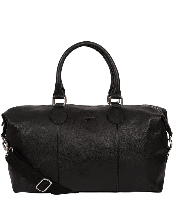 'Circuit' Black  Leather Holdall