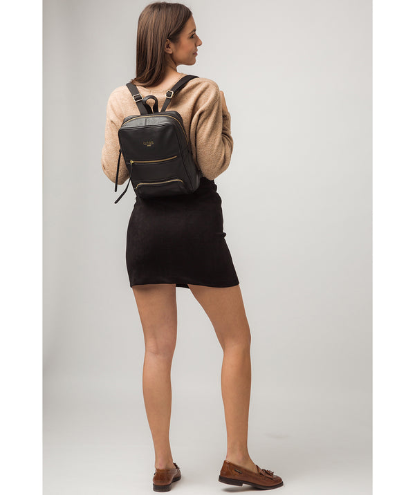 'Abbey' Black Leather Backpack