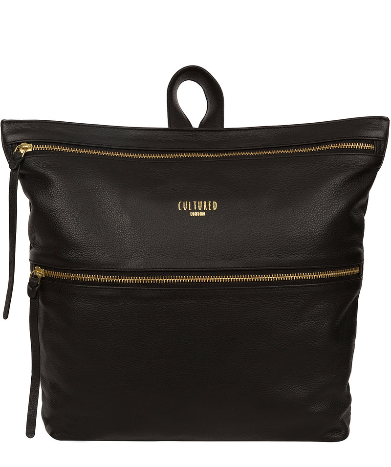 'Addington' Black Leather Backpack