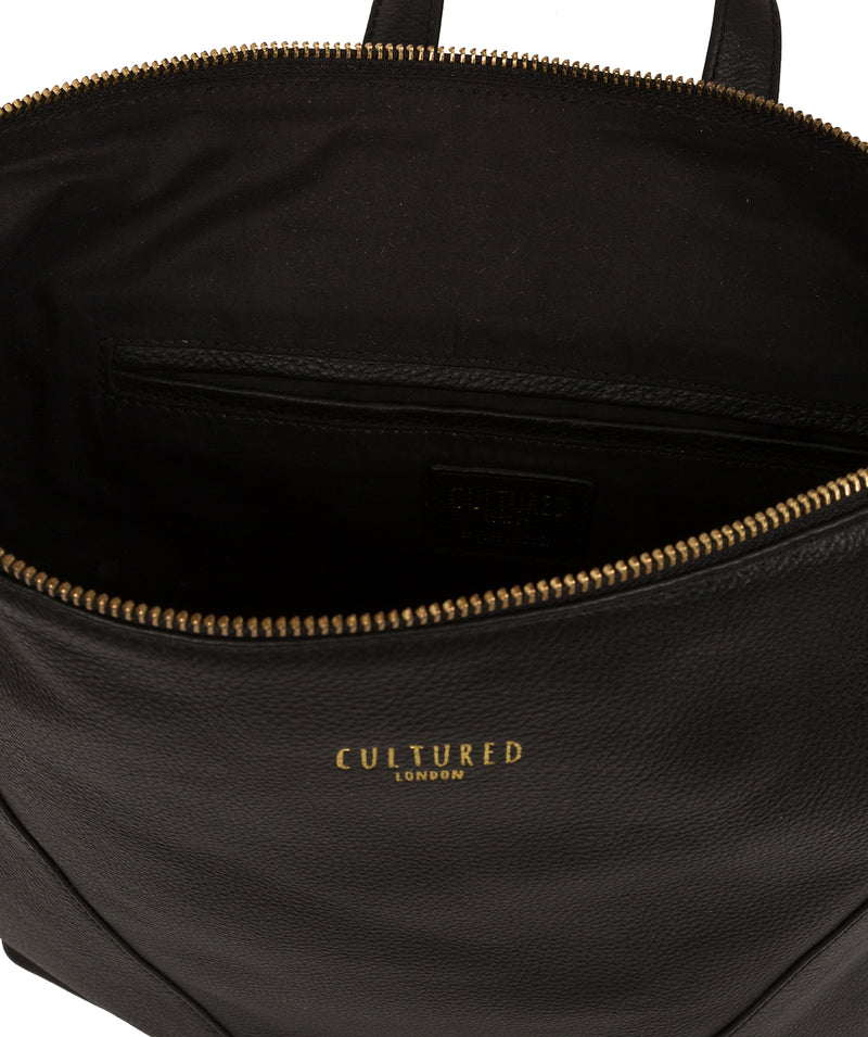 'Iiford' Black Leather Backpack