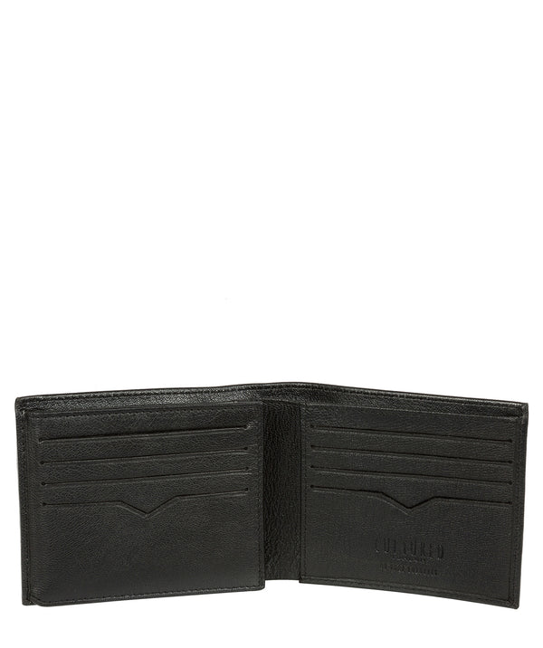 'Victor' Black Leather Tri-Fold Wallet image 3